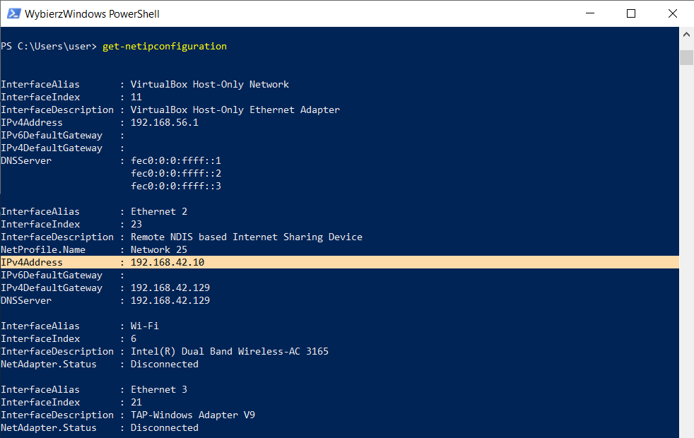 PowerShell - adres IP 01