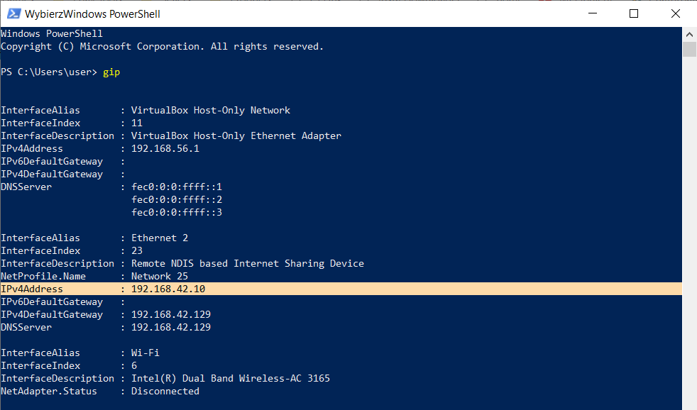 PowerShell - adres IP