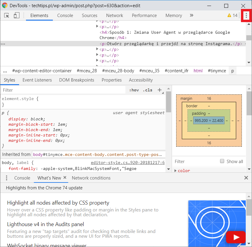 DevTools w Google Chrome